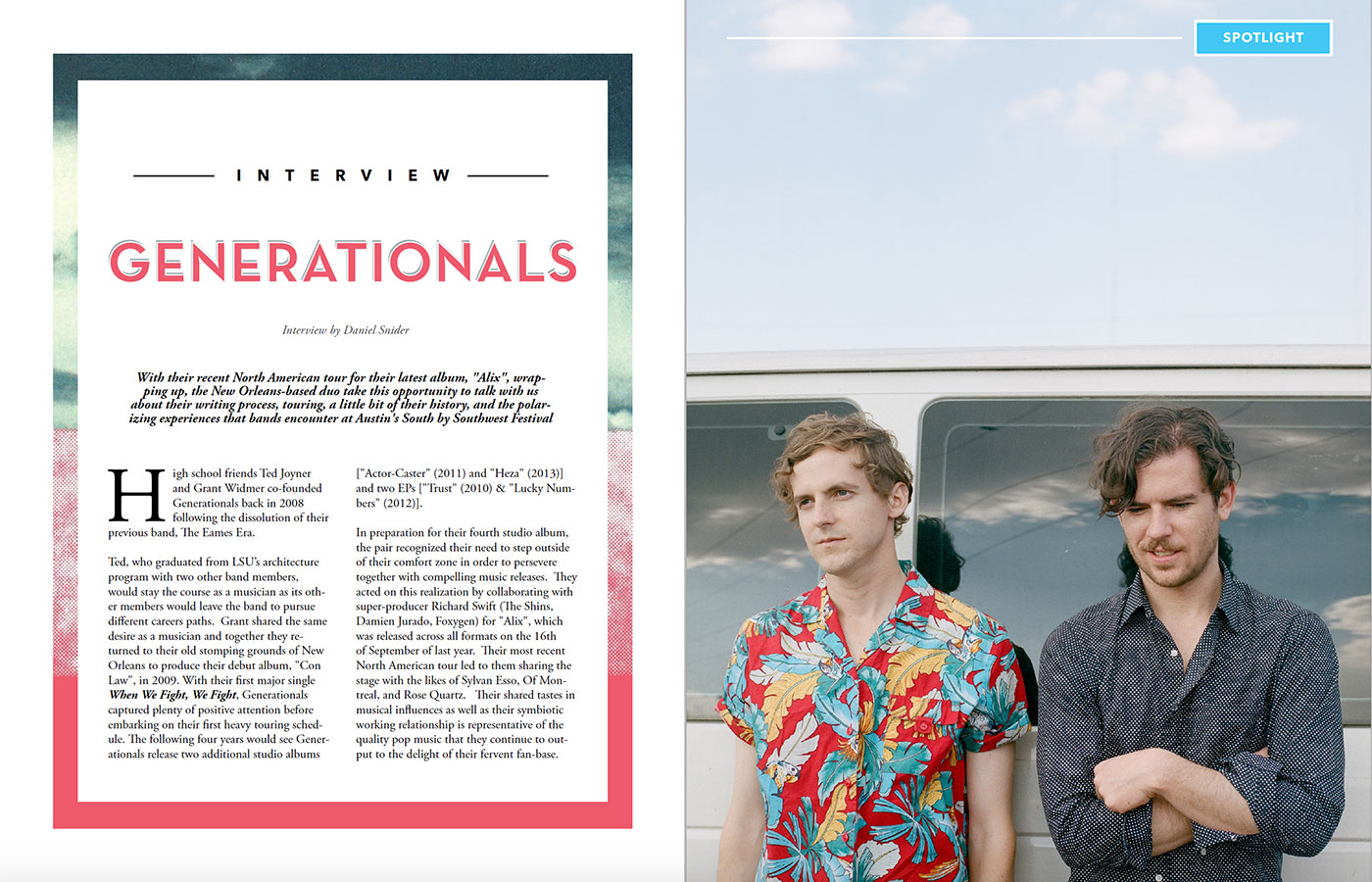 Cue la musique issue III generationals spread